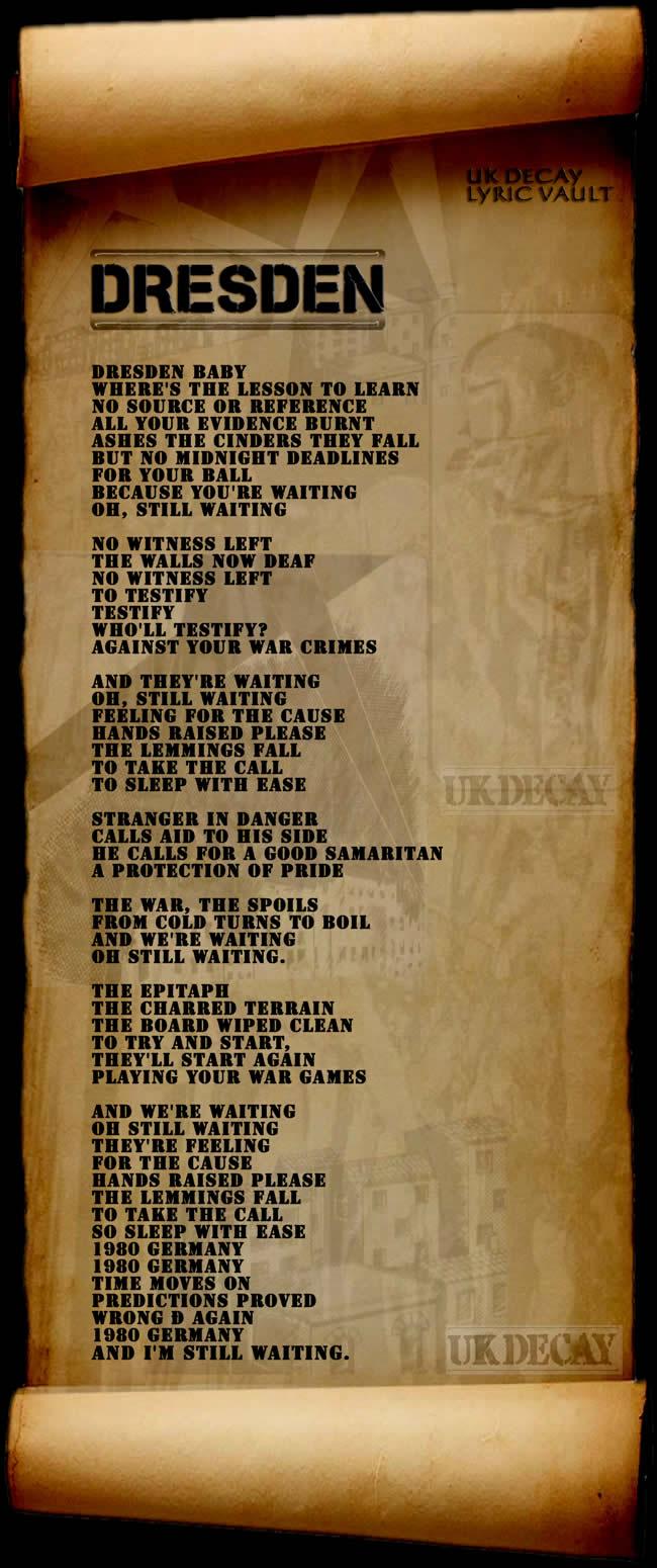 Lyrics by UK Decay. Copyright UK Decay 1982