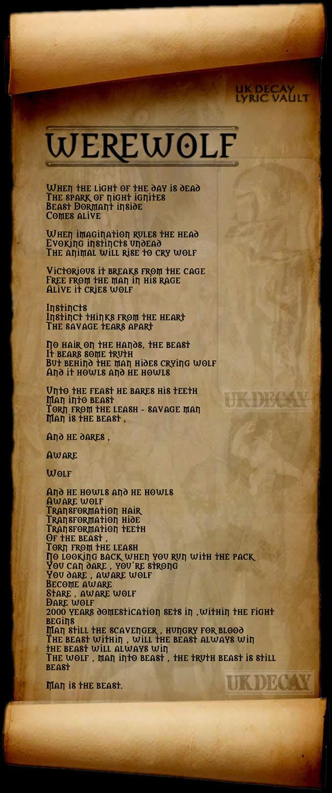 Lyrics to Werewolf by UK Decay. Copyright UK Decay 1982
