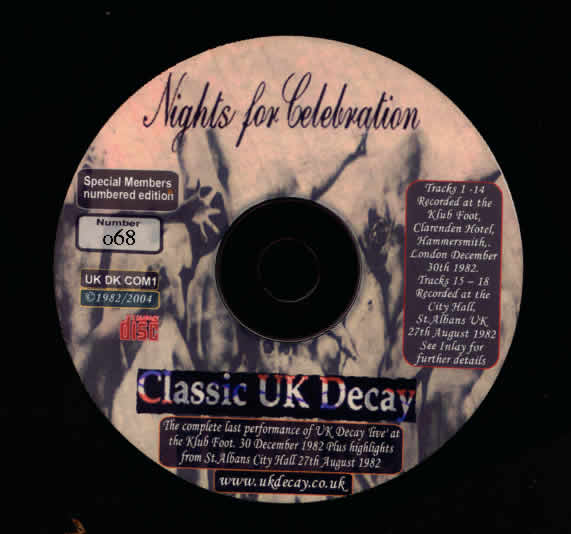 Nights For Celebration cd label (2004) (UK/DK Com 1) 'Special Members Edition' released Dec 2004. CD released in a DVD jacket.