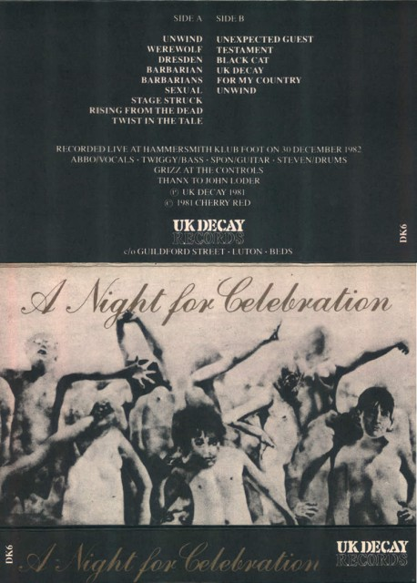 A Night For Celebration; UK Decay; UK Decay Records; Cassette: 1983 front/inside