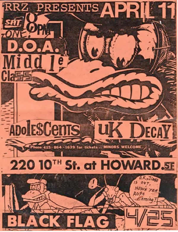 10th Street San Fransisco 11/04/81 RRZ UK Decay,DOA, Black Flag, Social Unrest