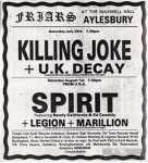 ukdk killing joke Friars aylesbury 1982