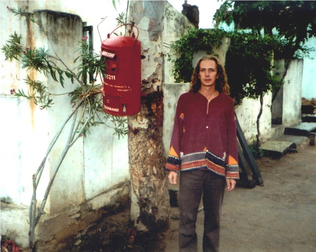 Steve Harle in India next to postbox