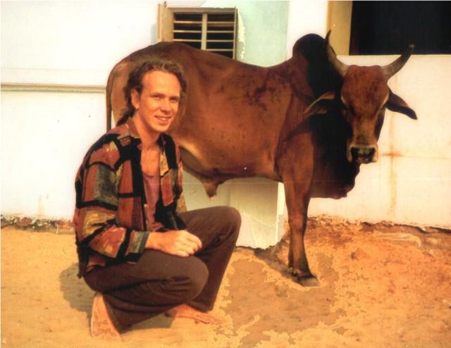 Steve Harle in India next to Brahman