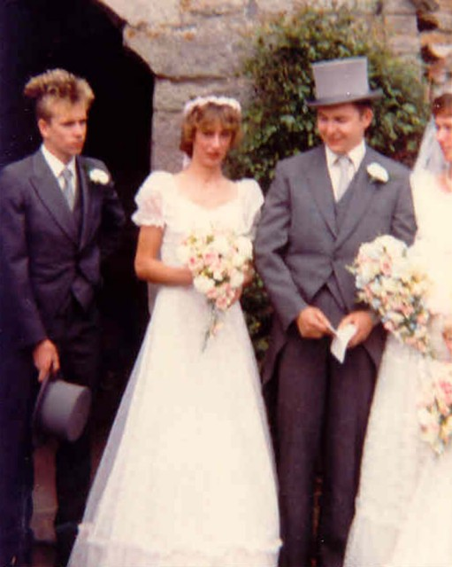 """mark cottle's wedding ... The other photo was taken at Mark�s wedding in Cumbria in 1983, which I attended along with Steve Harle (who was the best man) and Abbo.  This photo shows from the left Steve Harle  (in top hat & tails!) ..""""Anee""""..."""