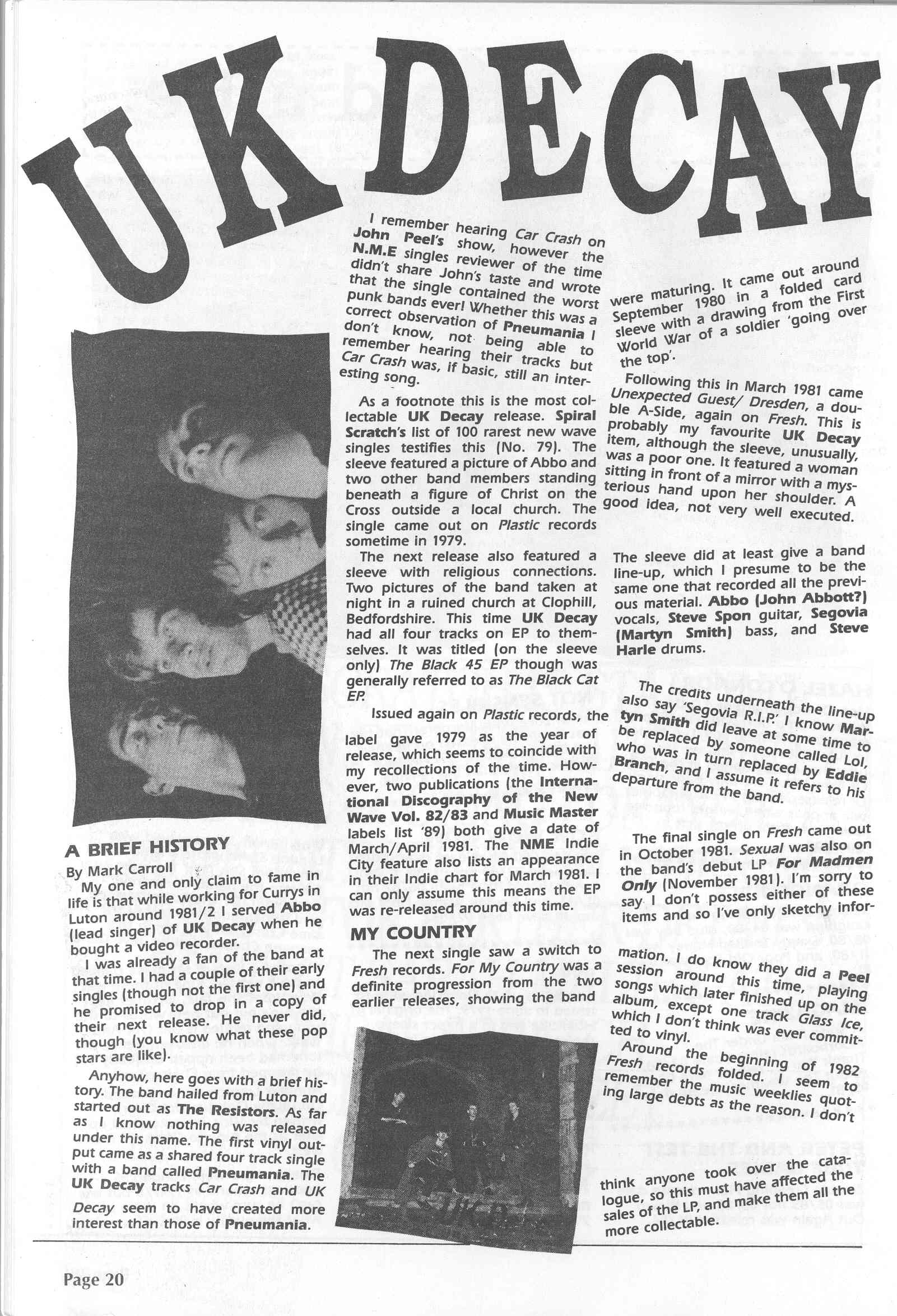 UK Decay Spiral Scratch Magazine (early nineties)#1