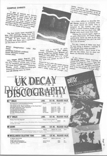 UK Decay Spiral Scratch Magazine (early nineties)#2