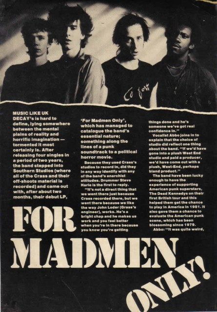 UK Decay interview, For Madmen Only part 1 Zig Zag magazine 1982