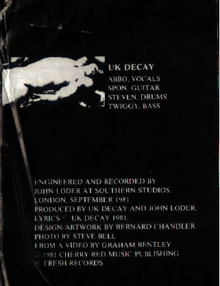 Sexual/Twist In The Tail: UK Decay; Fresh Records; front/rear spread,text detail 2