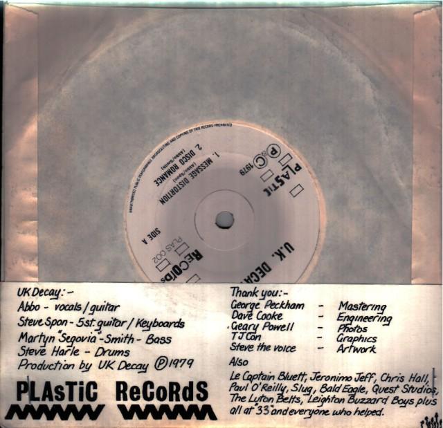 The Black 45: UK Decay: Plastic Records: 1980: slip